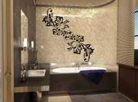 Фото: Виниловые наклейки в ванную комнату Цветочный орнамент