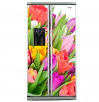 Фото: Виниловые наклейки на холодильник типа Side by side Тюльпаны