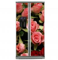 Фото: Виниловые наклейки на холодильник типа Side by side Розы