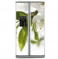 Фото: Наклейка на холодильник Side by side Белые цветы