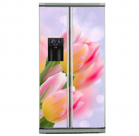 Фото: Виниловые наклейки на холодильник типа Side by side Цветы