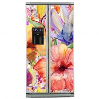 Фото: Виниловые наклейки на холодильник типа Side by side Орнамент цветочный