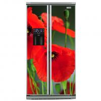 Фото: Виниловые наклейки премиум на холодильник типа Side by side Маки