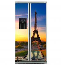 Фото: Виниловые наклейки на холодильник типа Side by side Париж