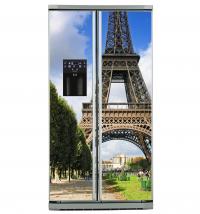 Фото: Виниловые наклейки на холодильник типа Side by side Эфелева башня