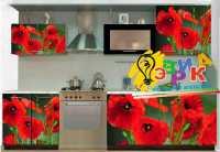Фото: Виниловые наклейки на кухонную мебель Красные маки
