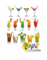 Фото: Наклейка рекламная Коктейли алкогольные и безалкогольные напитки