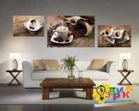 Фото: Модульная картина Кофе Панно из трех холстов чашка кофе кофейные зерна мешковина