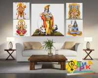 Фото: Модульная картина Хинди Индийские мотивы на пяти холстах