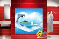 Фото: Стеновые панели в ванную Дельфин