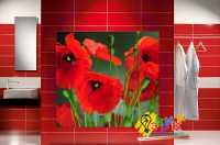 Фото: Стеновые панели в ванную Маки