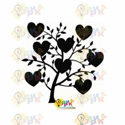 Фото: Меловая доска фигурная Дерево любви