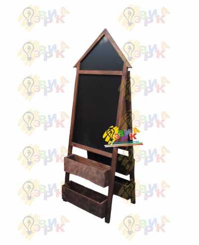 Фото: Штендер меловой домик в темно-коричневой раме
