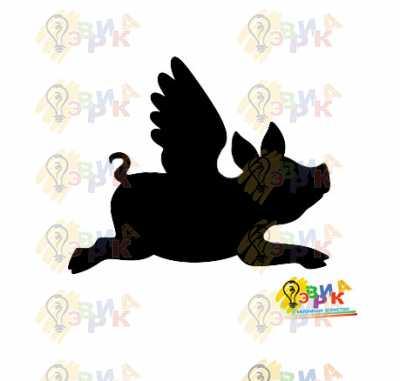 Фото: Меловая доска Свинка с крыльями