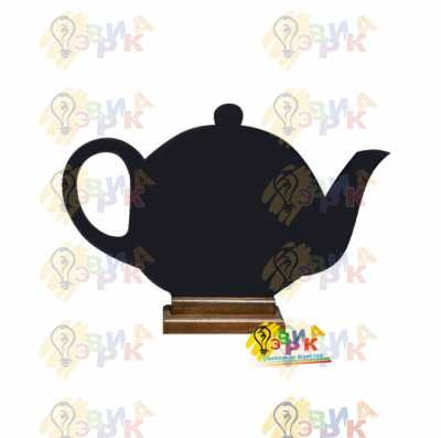 Фото: Менюхолдер меловой премиум Чайник на коричневой подставке двухсторонний