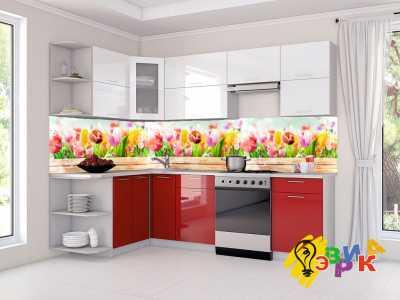 Фото: Кухонные скинали Тюльпанчики