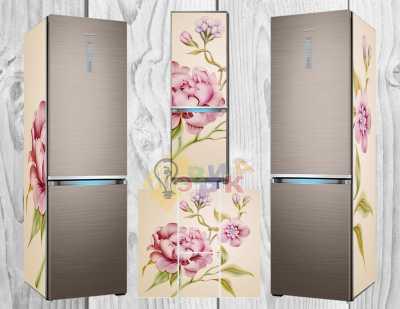 Фото: Дизайнерские на холодильник Живопись цветы