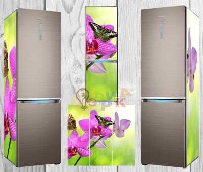 Фото: Дизайнерские наклейки на холодильник Орхидея