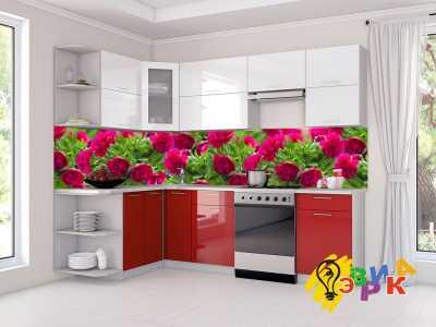 Фото: Кухонные скинали Пионы