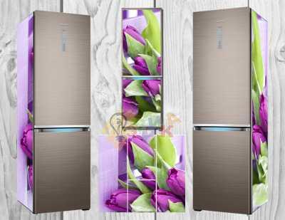 Фото: Дизайнерские наклейки на холодильник Тюльпаны 2