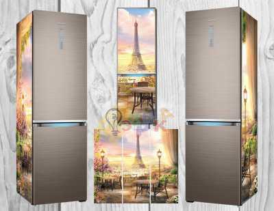 Фото: Дизайнерские наклейки на холодильник премиум Париж