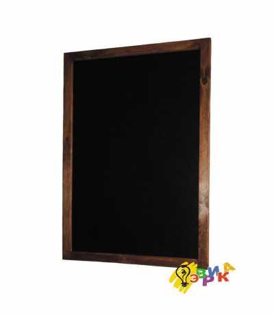 Фото: Деревянная доска меню для письма мелом в темной раме 65Х105 см