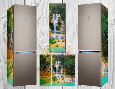 Фото: Дизайнерские наклейки на холодильник Водопад