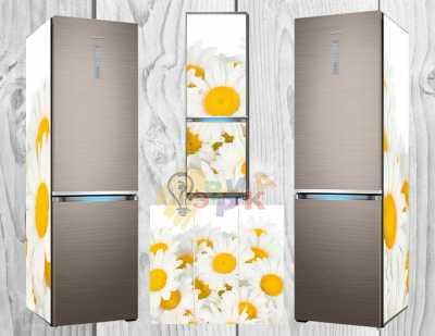 Фото: Дизайнерские наклейки на холодильник Ромашки