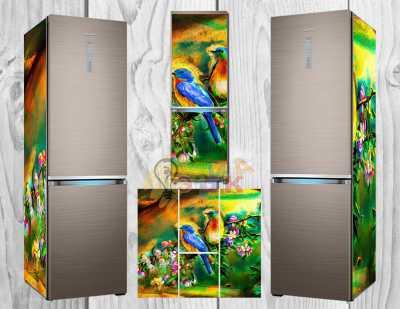 Фото: Дизайнерские наклейки на холодильник Птички