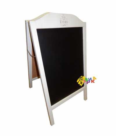 Фото: Штендер меловой арочный белый с логотипом