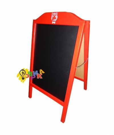 Фото: Штендер меловой арочный красный с логотипом