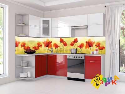 Фото: Кухонные скинали Нежные маки