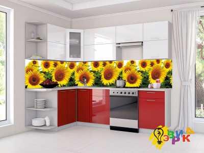 Фото: Кухонные скинали Подсолнухи