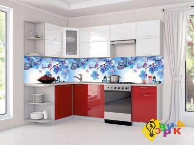 Фото: Кухонные скинали Голубая орхидея