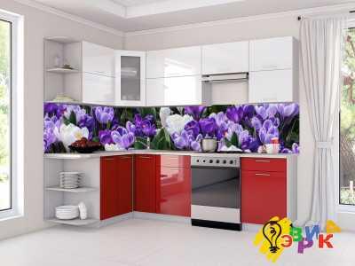 Фото: Кухонные скинали Фиолетовые цветы