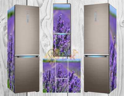 Фото: Дизайнерские наклейки на холодильник Лавандовое поле