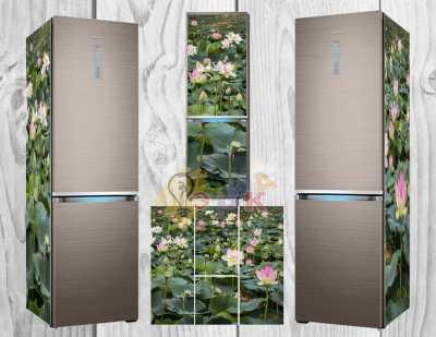 Фото: Дизайнерские наклейки на холодильник Лотосы