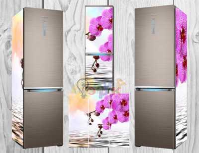 Фото: Дизайнерские наклейки на холодильник Орхидеи
