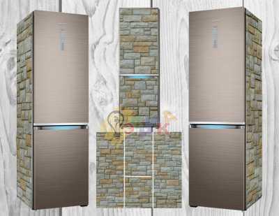 Фото: Дизайнерские наклейки на холодильник Каменные стены