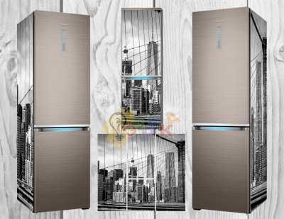 Фото: Дизайнерские наклейки на холодильник Город