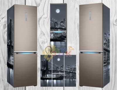 Фото: Дизайнерские наклейки на холодильник Мост черно белый