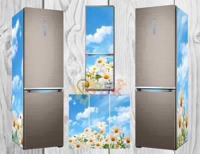 Фото: Дизайнерские наклейки на холодильник Ромашковое поле