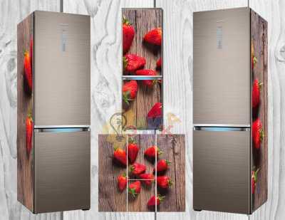 Фото: Дизайнерские наклейки на холодильник Клубничка