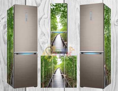 Фото: Дизайнерские наклейки на холодильник 3Д перспектива