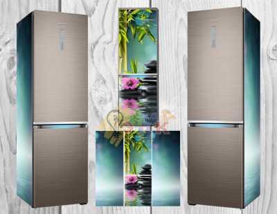 Фото: Дизайнерские наклейки на холодильник Бамбук
