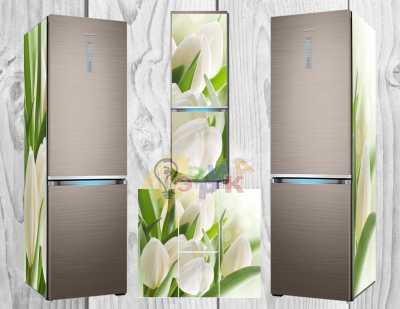 Фото: Дизайнерские наклейки на холодильник Белые тюльпаны