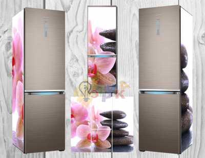 Фото: Дизайнерские наклейки на холодильник Розовая орхидея