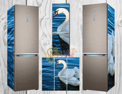 Фото: Дизайнерские наклейки на холодильник Лебедь
