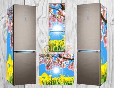 Фото: Дизайнерские наклейки на холодильник Магнолии