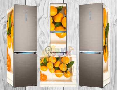 Фото: Дизайнерские наклейки на холодильник Мандарины
